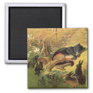 Vintage Victorian Fairy Tale, Puss in Boots 2 Inch Square Magnet