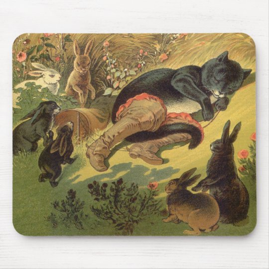 Vintage Victorian Fairy Tale, Puss in Boots Mouse Pad