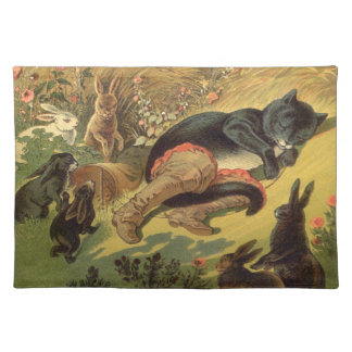 Vintage Victorian Fairy Tale, Puss in Boots Cloth Placemat