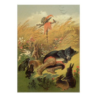 Vintage Victorian Fairy Tale, Puss in Boots Poster