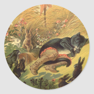 Vintage Victorian Fairy Tale, Puss in Boots Classic Round Sticker