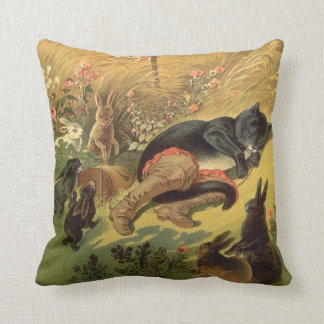 Vintage Victorian Fairy Tale, Puss in Boots Throw Pillow