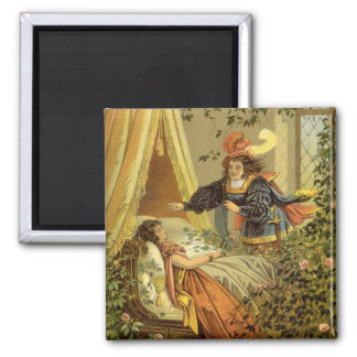 Vintage Victorian Fairy Tale, Sleeping Beauty 2 Inch Square Magnet