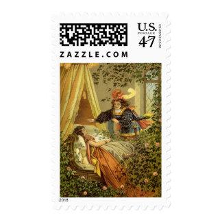 Vintage Victorian Fairy Tale, Sleeping Beauty Postage Stamp