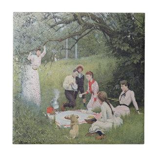 Vintage Victorian Family Picnic Woods Ceramic Tile