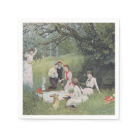 Vintage Victorian Family Picnic Woods Paper Napkin