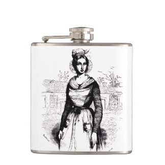 Vintage Victorian Farm Lady Hip Flasks