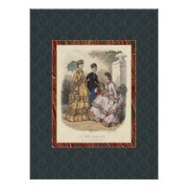 Vintage Victorian Fashion Beauties Antique Print