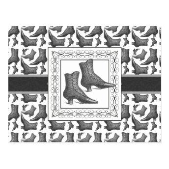 Vintage Victorian Fashion Boots Elegant Pattern Postcards