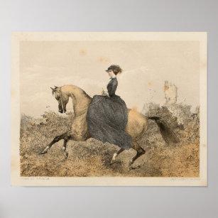 Vintage Victorian Female Equestrian Art Print 1857