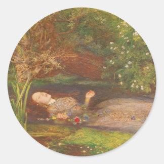 Vintage Victorian Fine Art, Ophelia by Millais Classic Round Sticker