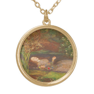 Vintage Victorian Fine Art, Ophelia by Millais Gold Plated Necklace