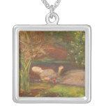 Vintage Victorian Fine Art, Ophelia by Millais Square Pendant Necklace