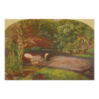 Vintage Victorian Fine Art, Ophelia by Millais Poster