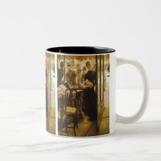 Vintage Victorian Fine Art, Shop Girl by Tissot Two-Tone Coffee Mug