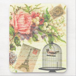 Vintage Victorian Floral Bird Paris Mouse Pad