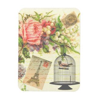Vintage Victorian Floral Bird Paris Photo Magnet