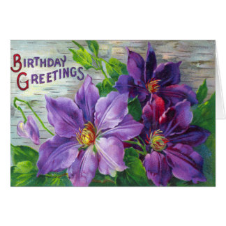 Vintage Victorian Floral Birthday Day Card