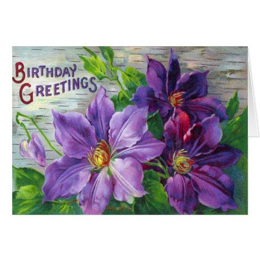 vintage victorian floral birthday card