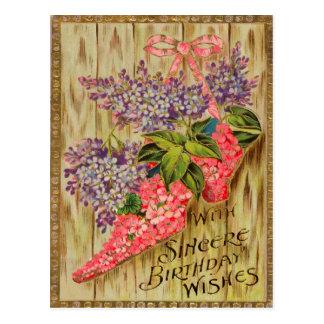 Vintage Victorian Floral Birthday Postcard. Postcard