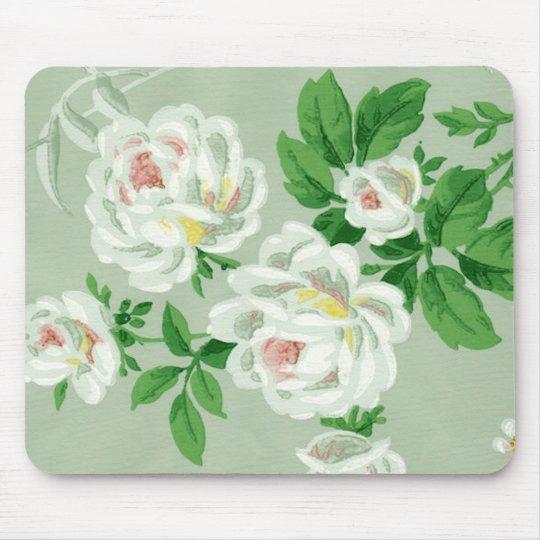 Vintage Victorian Floral Green Wallpaper Mousepad