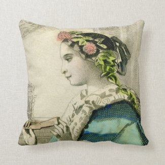 Vintage Victorian Floral Head Wreath Pillow