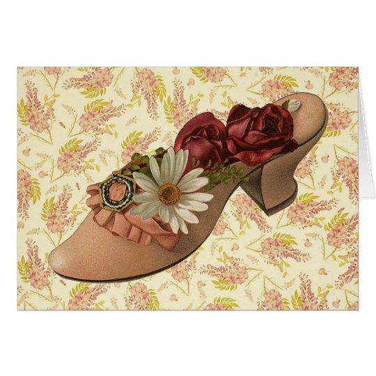 Vintage Victorian Floral Shoe Card