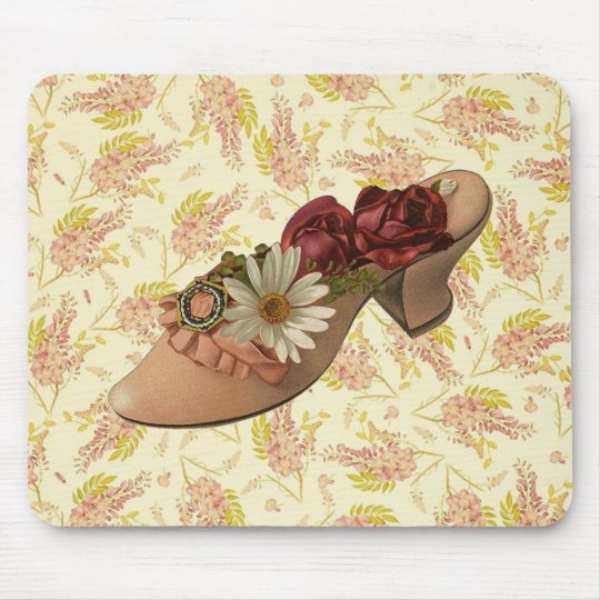 Vintage Victorian Floral Shoe Mouse Pad
