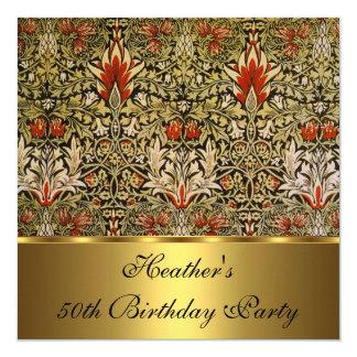 Vintage Victorian Floral Snakeshead 1876 Gold Card