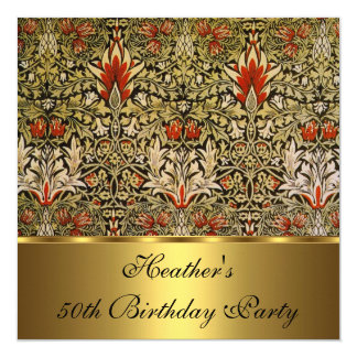 Vintage Victorian Floral Snakeshead 1876 Gold 5.25x5.25 Square Paper Invitation Card