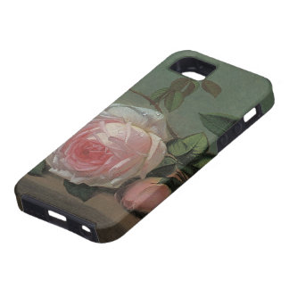 Vintage Victorian Floral Still Life, Pink Roses iPhone 5 Case