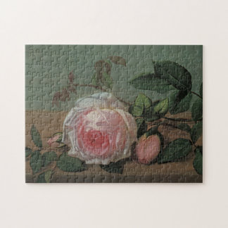 Vintage Victorian Floral Still Life, Pink Roses Puzzles