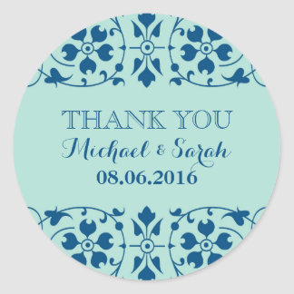 Vintage Victorian Floral Thank You Sticker in Blue
