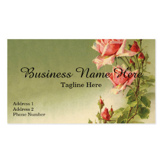 Vintage Victorian Flowers, Pink Garden Roses Double-Sided Standard Business Cards (Pack Of 100)