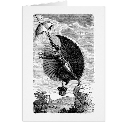 Vintage Victorian Flying Machine Invention Card