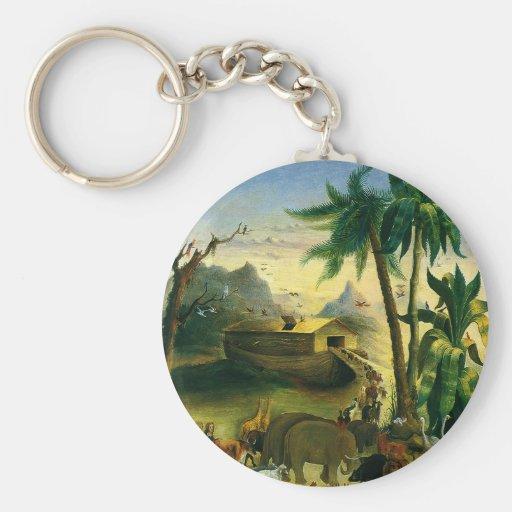 Vintage Victorian Folk Art, Noah's Ark by Hidley Basic Round Button Keychain