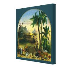 Vintage Victorian Folk Art, Noah's Ark by Hidley Canvas Print