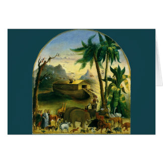 Vintage Victorian Folk Art, Noah's Ark by Hidley Card