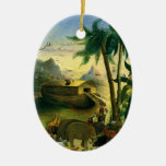 Vintage Victorian Folk Art, Noah's Ark by Hidley Ceramic Ornament