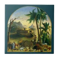 Vintage Victorian Folk Art, Noah's Ark by Hidley Ceramic Tile