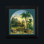 "Vintage Victorian Folk Art, Noah&#39;s Ark by Hidley Keepsake Box<br><div class=""desc"">Noah&#39;s Ark (1870) by Joseph H. Hidley is a vintage fine art religious animal portrait Bible Story painting. The vessel which, according to the Book of Genesis, was built by Noah at God&#39;s command to save himself, his family and the world&#39;s animals from a worldwide deluge. The narrative features in...</div>"
