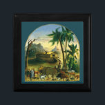 """Vintage Victorian Folk Art, Noah&#39;s Ark by Hidley Keepsake Box<br><div class=""""desc"""">Noah&#39;s Ark (1870) by Joseph H. Hidley is a vintage fine art religious animal portrait Bible Story painting. The vessel which, according to the Book of Genesis, was built by Noah at God&#39;s command to save himself, his family and the world&#39;s animals from a worldwide deluge. The narrative features in...</div>"""
