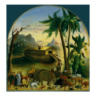 Vintage Victorian Folk Art, Noah's Ark by Hidley Poster