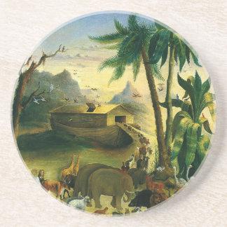 Vintage Victorian Folk Art, Noah's Ark by Hidley Sandstone Coaster