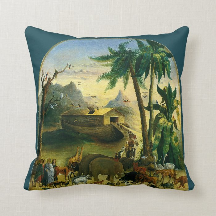 Victorian Outdoor Pillows : Vintage Victorian Folk Art, Noah s Ark by Hidley Throw Pillow Zazzle