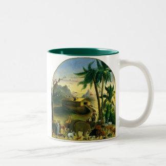 Vintage Victorian Folk Art, Noah's Ark by Hidley Two-Tone Coffee Mug