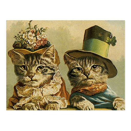 Vintage Victorian Funny Cats in Hats Save the Date Post Cards