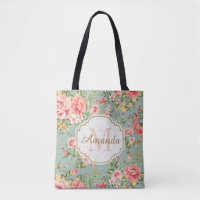 Vintage Victorian Garden Floral Monogram Name Tote Bag