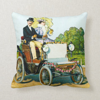 VIntage Victorian Gentleman and Lady Motorists Throw Pillow