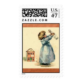 Vintage Victorian Girl Doll Postage Stamps